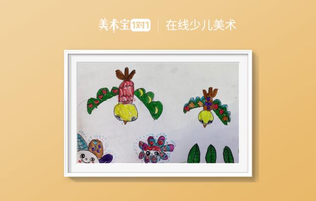 线描色彩装饰《美丽的鸟儿》